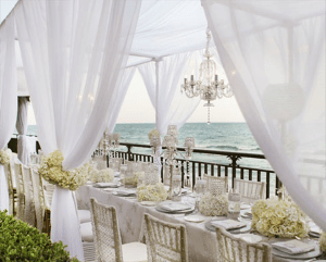 white beachside dining