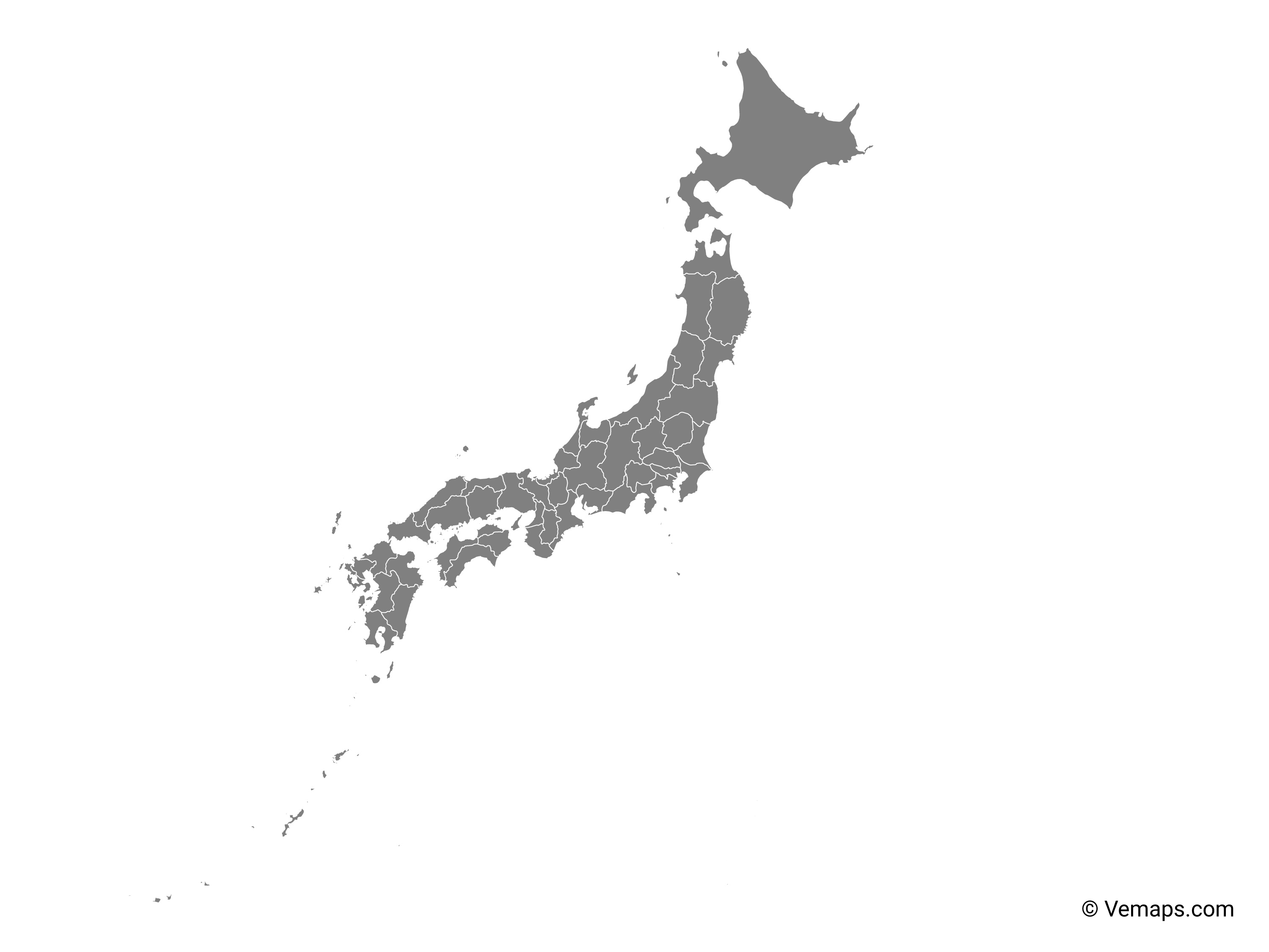 Grey Map Of Japan With Prefectures Free Vector Maps