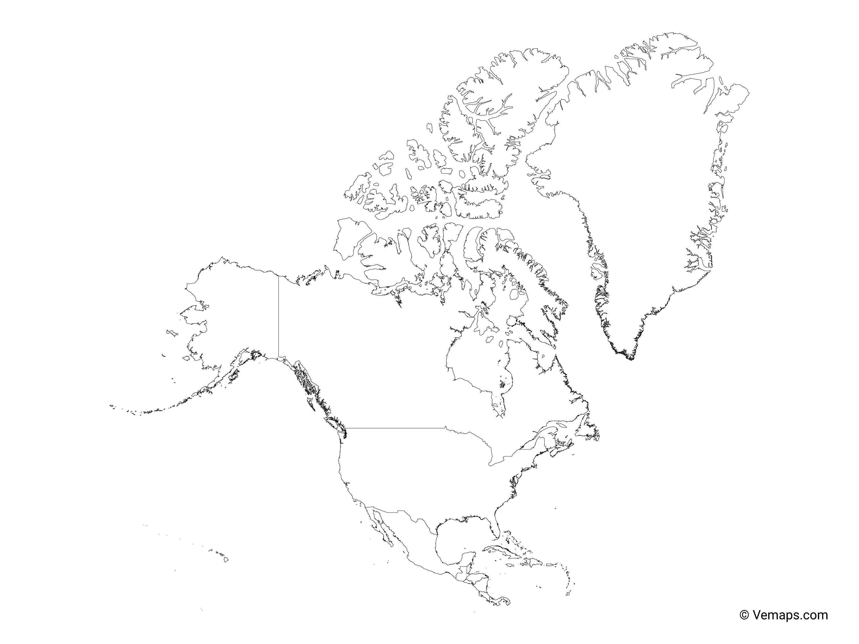 North America Political Map Blank
