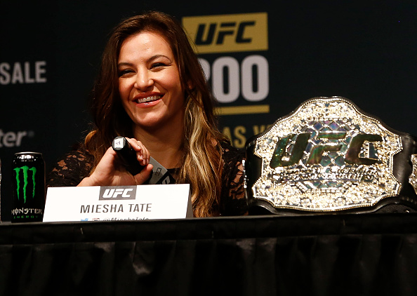 NEW YORK, NY - APRIL 27:  Miesha Tate, UFC women's bantamweight champion appears during a media availability for UFC 200 at Madison Square Garden on April 27, 2016 in New York City. (Photo by Jeff Zelevansky/Getty Images)