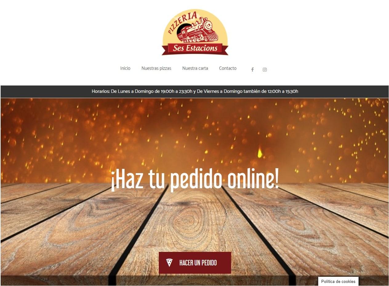 Diseño web y tiendas online para pizzerías y restaurantes a domicilio - Pizzería Ses Estacions