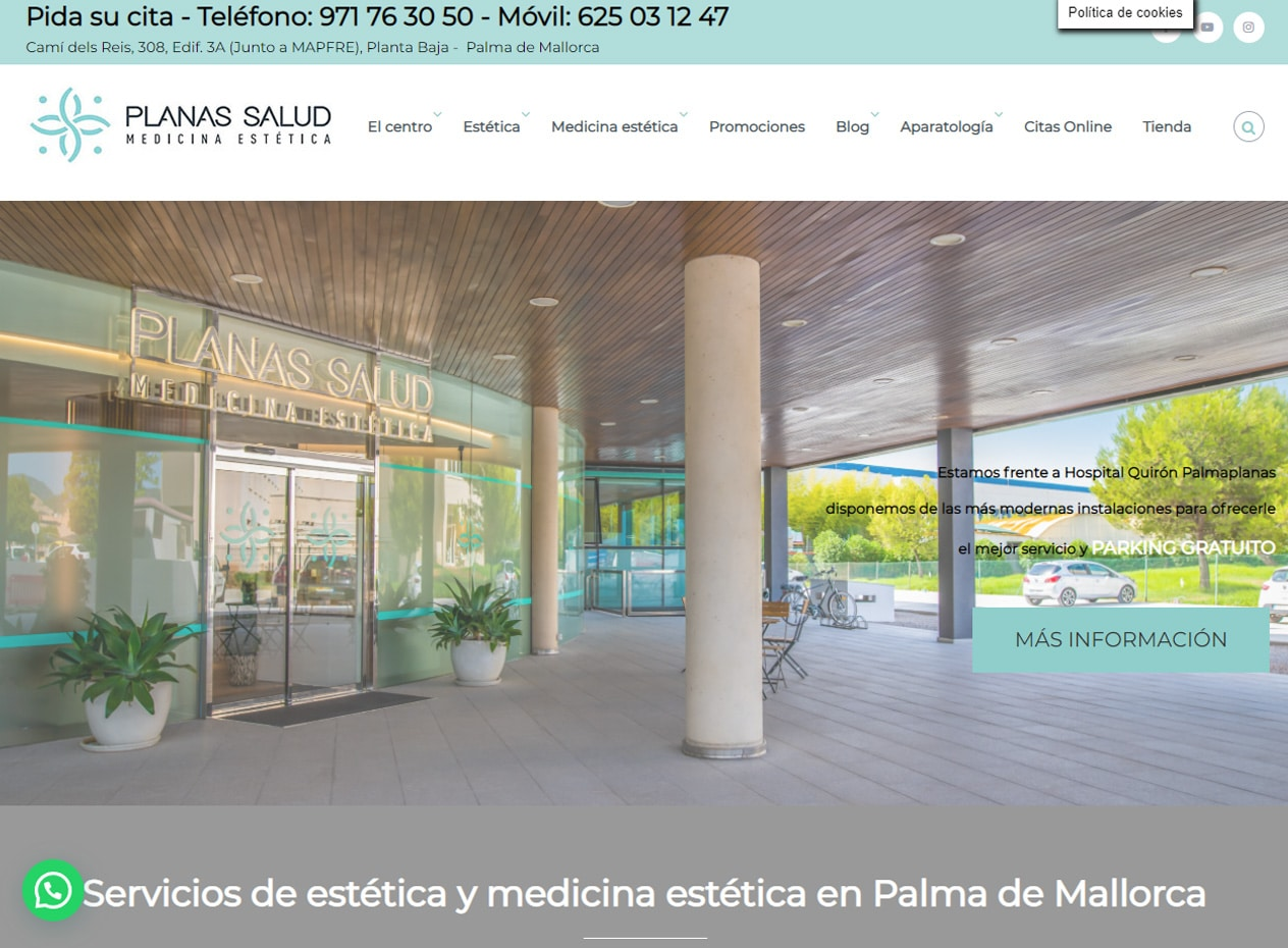 Diseño web para clínicas estéticas en Mallorca - Clínica Planas Salud - Mega Health