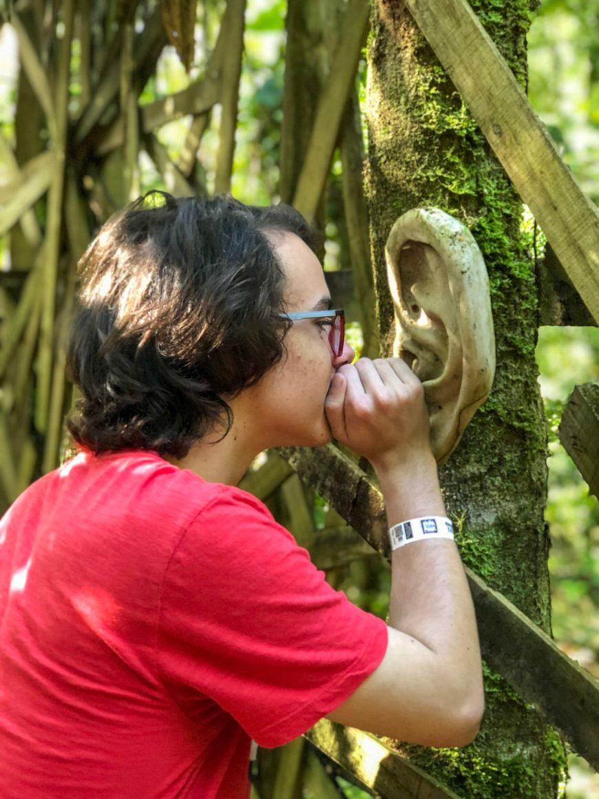 joao interagindo com a escultura de orelha