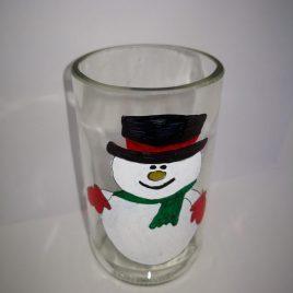 Vaso reciclado de botella de vidrio con motivos navideños (ICE)