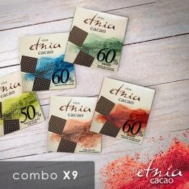 Combo de 9 tabletas de chocolate ETNIA