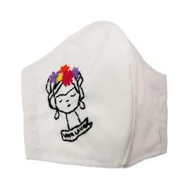 Barbijo fashion bordado a mano con diseño Frida