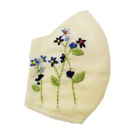 Barbijo fashion bordado a mano con diseño Flores Azules