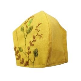 Barbijo fashion bordado a mano con diseño Hojas con Espina