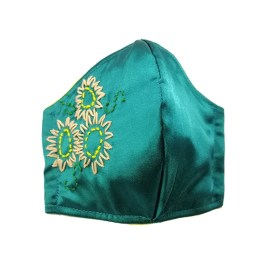 Barbijo fashion bordado a mano con diseño Girasoles