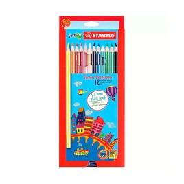 Estuche de 12 lápices con tajador Stabilo Swans Premium