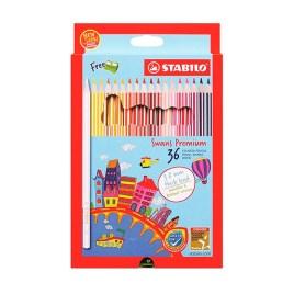Estuche de 36 lápices con tajador Stabilo Swans Premium