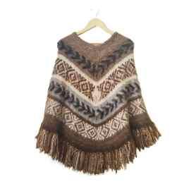 Poncho Bolivianita Shop en lana de alpaca 100%, color café