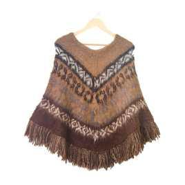 Poncho Bolivianita Shop en lana de alpaca 100%, combinado marrón