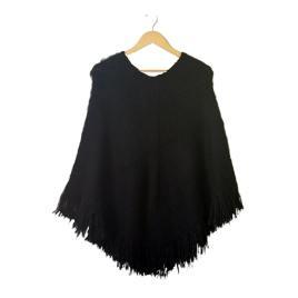 Poncho Bolivianita Shop en lana de alpaca 100%, color negro