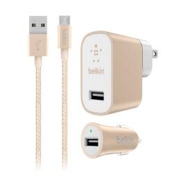 Cargador universal Belkin de pared + cargador de auto + cable micro USB, color dorado