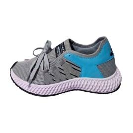 Zapatilla deportiva de mujer, color gris y azul con planta blanca