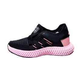 Zapatilla deportiva de mujer, color negro con planta rosada