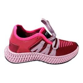 Zapatilla deportiva de mujer, color rojo con planta rosada