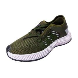 Zapatilla deportiva de mujer, color verde olivo con planta blanca