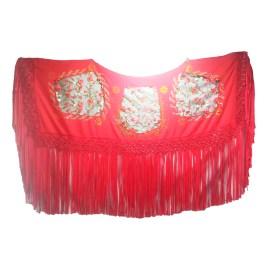 Manta para cholita en tela milano color rojo, diseño exclusivo y hecho a mano