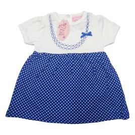 Vestido para bebé color blanco y falda celeste con puntos