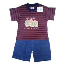 Conjunto para bebé con polera y short jeans