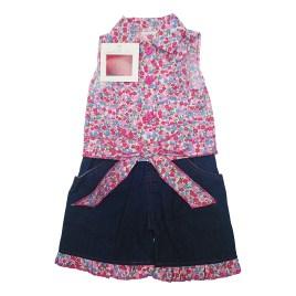 Conjunto de dos piezas para bebé, blusa floreada sin mangas y short jeans