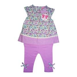 Conjunto floreado para bebé con calza lila
