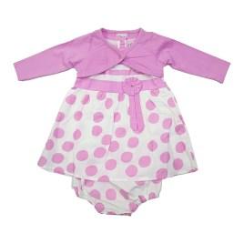 Vestido rosa para bebé con puntos