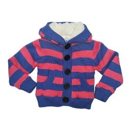 Cardigan a rayas con capucha para niños, color rojo y azul (1-3 años)