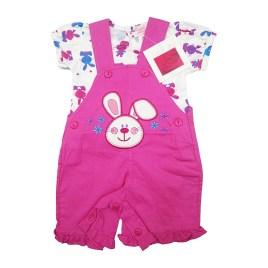 Vestido jardinero para bebé, color rosa y blanco floreado (3-12 meses)