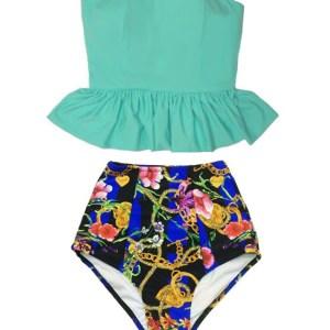 f846ccb0fb9a3 ... Long Peplum Tankini Top and Graphic Flora Flower Chain Bottom Handmade  High Waist Waisted Pin up Slimming Bottom Handmade Swimsuit Bikini Bathing  Swim ...