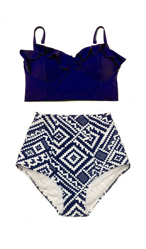 c31ee92a29fe8 ... Swimwear Bathing suit S M L XL. 🔍. Swimsuit Bikini Top Midkini  Underwire Navy Blue High waisted Bottom Shorts Graphic White Navy Blue