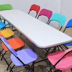 Mesa Infantil Rectangular 180x50 Fibra de Vidrio con Silla Plegable Infantil Colores 1