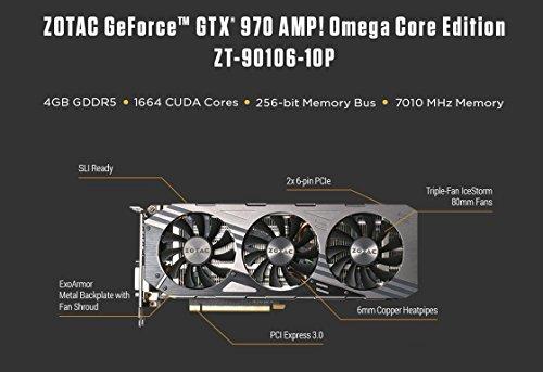 Zotac ZT-90106-10P Video Card Nvidia GeForce GTX 970 4GB GDDR5, DVI, HDMI, 3x DisplayPort, PCI-Express, Omega Core Edition - VendeTodito