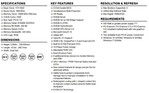 EVGA 08G-P4-6686-KR GeForce GTX 1080 8GB GDDR5X - Tarjeta gráfica (NVIDIA, GeForce GTX 1080, 7680 x 4320 Pixeles, 1721 MHz, 1860 MHz, 7680 x 4320 Pixeles) - VendeTodito