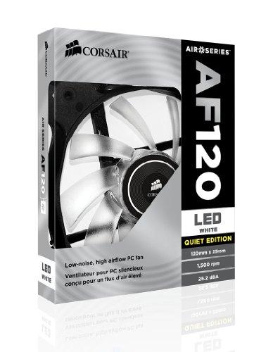 Corsair AF120 LED Quiet Edition Ventilador para Gabinete, color Blanco, paquete de 2 - VendeTodito