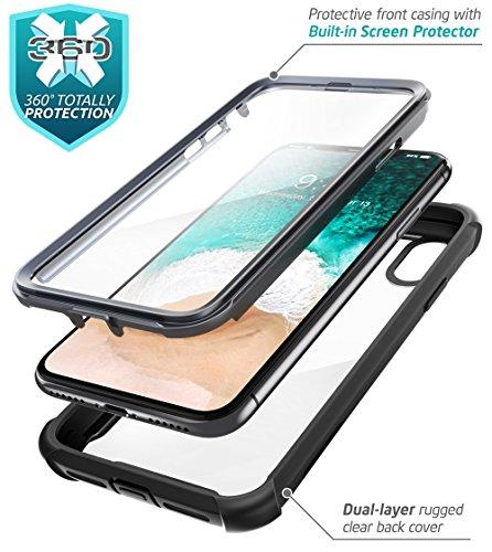 Funda para iPhone X, i-Blason [Ares] Apple iPhone 10 Funda de Parachoques Transparente con Protector de Pantalla para Apple iPhone X / iPhone 10 2017 - VendeTodito