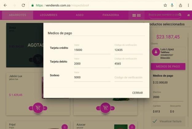 Medios de Pago en Vendiendo.co - Facturación táctil
