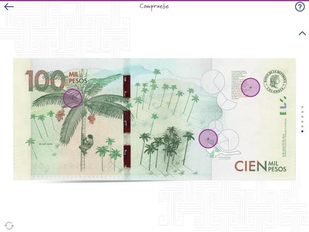 Identificar un billete falso en la parte de atrás