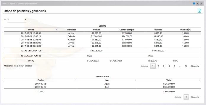 Reporte de pérdidas y ganancias detallado