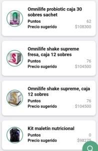 Precios productos Omnilife