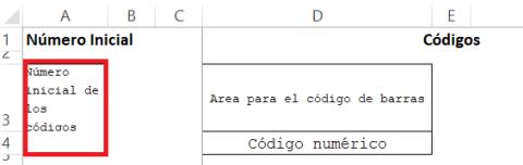 Celda número inicial de codigos