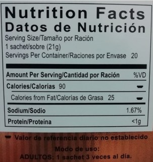 tabla nutricional gano cafe 3 en 1 - nutrition facts