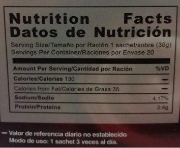 Tabla nutricional Gano Schokolade - Nutrition Facts