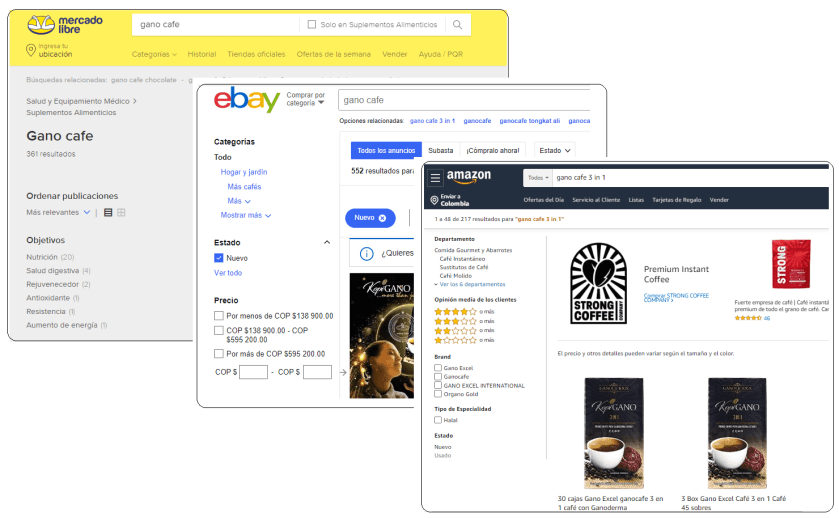 No comprar Gano Cafe por Amazon, eBay o Mercado Libre