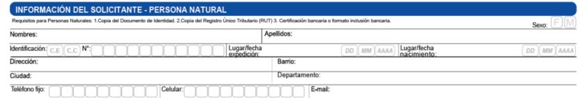 Información solicitante nueva vinculación de Gano Excel Colombia