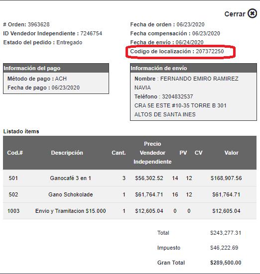 Detalle del pedido / historial