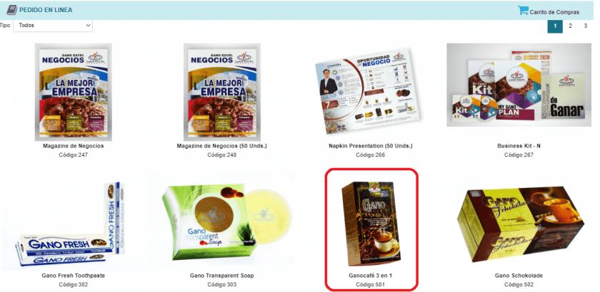 Productos disponibles para la compra