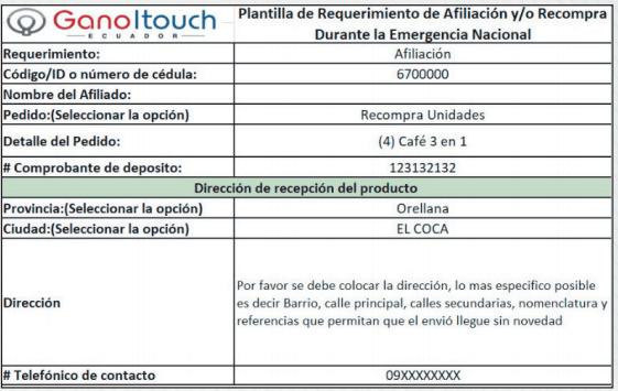 Plantilla de Afiliación - Recompra Gano iTouch Ecuador